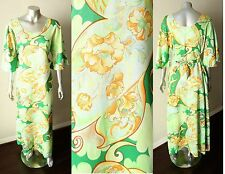 Boho Hippie Belted Caftan Bell Sleeve Floral Green Psychedelic Crepe Dress