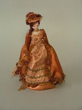 1/12TH  DOLLS HOUSE VICTORIAN LADY IN BRONZE SATIN GOWN