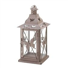 Distressed Metal Butterfly Candle Lantern