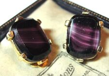 VINTAGE 1950s SIGNED SPHINX PURPLE AGATE GLASS COSTUME JEWELLEY CLIP ON EARRINGS