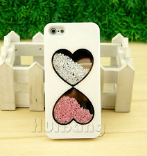 Delux  Lover Heart Bling Diamond Crystal Case Cover For iPhone 5 5G White S277