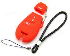 Red Silicone Soft Case Cover Holder For Chrysler Dodge Jeep VW Remote Smart Key