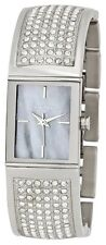 NEW DKNY SILVER TONE,CRYSTAL PAVE,GRAY MOP,S/ STEEL CUFF BRACELET WATCH NY4733