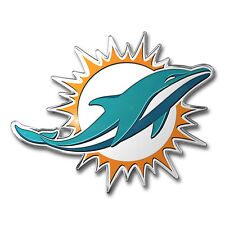 2 Pack Miami Dolphins Aluminum Metal Auto Emblem [NEW] NFL Car Decal Sticker