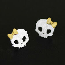 925 Sterling Silver Baby Skull Studs Earrings Gold Plated Matte Finish