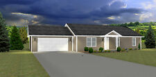 1276 Sq.Ft. Ranch house plans 3 Bed 2 Bath up Great Starter Home - Simple Layout