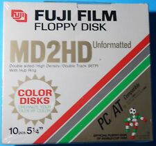 "Fuji MD2-HD DS/HD 5 1/4"" Floppy Disk 1.2 MB New 10 Pack *5 Colors!* Unformatted"