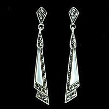 Sterling Silver Vintage Style Marcasite & Mother of Pearl Drop Earrings RRP $115
