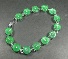 Gold Plate CHINESE Green JADE Bead Beads  Circle Donut Bangle Bracelet 237154