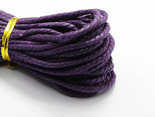 60 Meters Dark Purple Twisted Waxed Cotton Cord String Thread Line 2mm