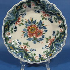 "f741: FLOWERS and WIDE RIM on 7¼"" POLYCHROME DELFT WALL PLATE TICHELAAR MAKKUM"