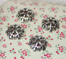 20x Tono Plata Flor end/bead Tapas 10 Mm