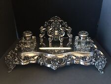 RARE Sterling Silver Inkstand Desk Set Custom KING JOHN V Style TEXAS PROVENANCE