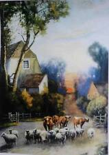 Robert A Fox AKA Arthur deforest  sheep cattle village vintage art