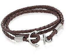 Anchor Brown Braided Double Wrap Leather Wristband with Anchor Clasp