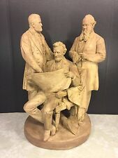 John Rogers Statue The Council of War 1868 Cast Plaster Lincoln Grant & Stanton