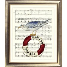 ART PRINT ORIGINAL VINTAGE MUSIC SHEET Page SEAGULL Sea Nautical Seaside Picture