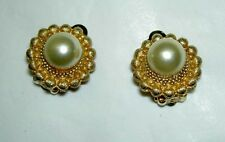 Vintage Designer POLCINI Faux 10 mm Pearl Gold Beaded Button Clip on Earrings
