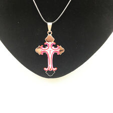 Men's Fashion Jewelry Cross Pink Pendant Black Leather Necklace For Gift NEW #4