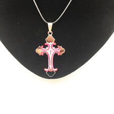 Men's Fashion Jewelry Cross Pink Pendant Black Leather Necklace For Gift NEW #1