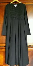 Woman's Lg. black pleated Smocked Beaded bling dress inseam pockets Paragon NEW