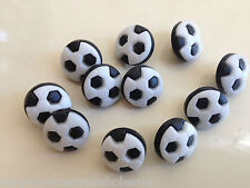 10x Black Football Plastic Buttons Sewing Scrapbooking Cardmaking Craft 13mm