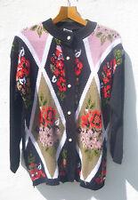 Vintage 70s/80s Floral Bouquet Argyle Pattern Oversized Black Cardigan Grunge L