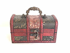 Wooden Trinket Box - Treasure Chest - Brass Style Handle and Catch