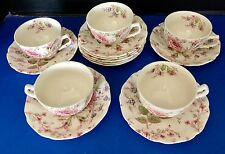 Johnson Brothers Rose Chintz Cottage Pink Floral Tea Cups / Saucers X 5 Sets
