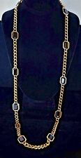 Yves Saint Laurent Long Chain Necklace With Faceted Black Stones