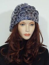 Fearlessly stylish lagenlook blue & ivory lace vintage '20 style cocktail hat