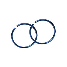 Pair of Blue Hoops Seamless Rings for Cartilage, Nose and Lips 18GA 5/16 8MM