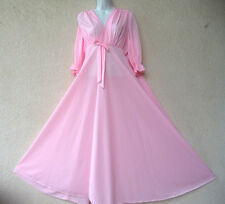 Vintage Long NIGHTGOWN Silky Nylon Dressing Gown HUGE Sweep Pink Empire Waist M