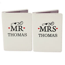 Personalised MR & MRS PASSPORT COVERS, Matching Passport Holders - Wedding Gift