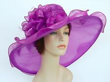 New Church Kentucky Derby Wedding Organza Wide Brim Dress Hat 3546 Purple