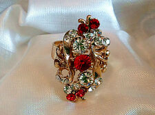 Big Red New Flower Charm Gold Plate Crystal Rhniestone Adjustable Ring Gift