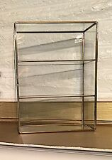Vintage Large Pure Clear Glass Display Hutch W/Brass Curio Miniatures Mexico Box
