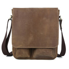 Retro Mens Genuine Leather Messenger Shoulder School Satchel Sling Crossbody Bag