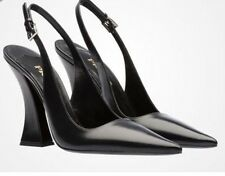BNIB AUTHENTIC PRADA BLACK LEATHER SLINGBACK PUMPS SHOES UK 6 US 8 EU 39 1I799F