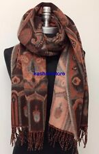 New Women Blanket Tartan 100% Cashmere Scarf Wrap Shawl Paisley Plaid Brown/Rust