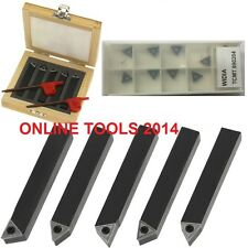 "INDEXABLE TURNING TOOL BITS LATHE SET 8MM (5/16"") - 5 PIECES - 10 INSERTS TCMT"