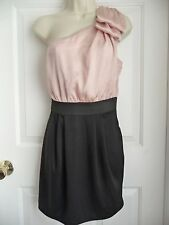 FOREVER 21 Dress M One Shoulder w/ Huge Bow Black Skirt Peach Top Party Cruise