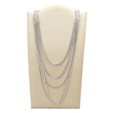 "FOSSIL Brand ""Modern Heirloom"" Silver-Tone Layered Chain Long Necklace $198"