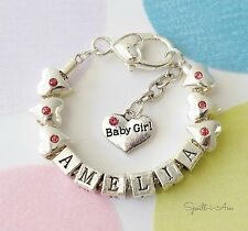 Silver Plated Bracelet. Newborn Baby Gift for a Girl.  Any Name, Charm or Size