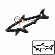 (1) 3D Black Shark Hollow Metal Badge Sticker Emblem Auto Car Fender Boot Trunk