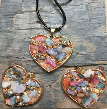 Mixed Crystal Quartz Gold Plt Heart Necklace Pendant Reiki Healing Druzy Gem