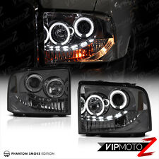 2005-2007 Ford F250 F350 SuperDuty SD Smoke DRL LED Halo Projector Headlights