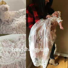 Lace Applique Baby Baptism Dress White Ivory Long Christening Gowns Custom 2017