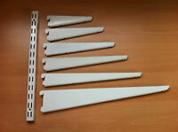 White Twin Slot Shelving Adjustable Brackets & Uprights Strong Great Value!