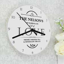 Personalised Shabby Full of Love Glass Wall Clock - New Home Gift Wedding Gift